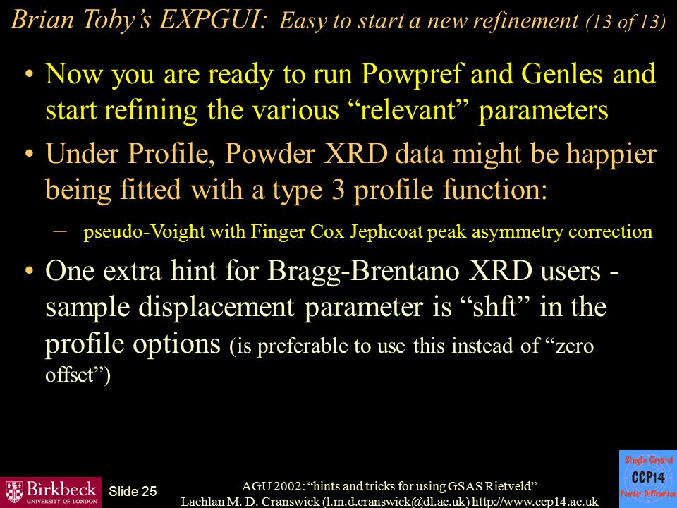 Brian Toby's EXPGUI: Easy to start a new refinement (13 of 13)