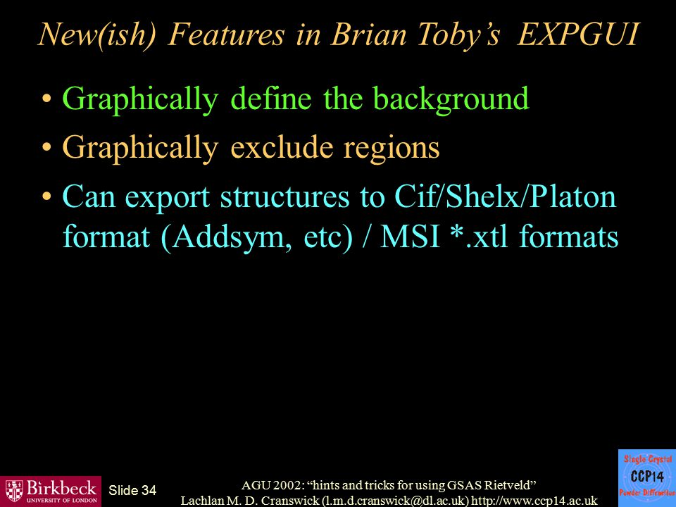 New(ish) Features in Brian Toby's EXPGUI