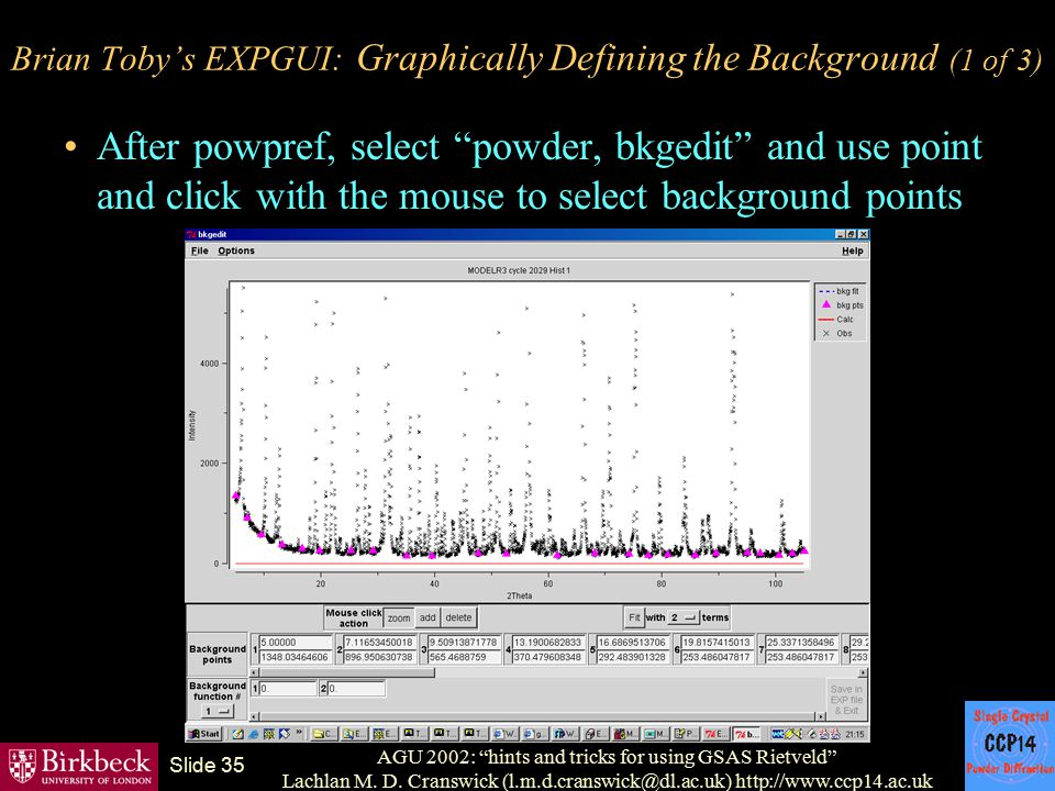 Brian Toby's EXPGUI: Graphically Defining the Background (1 of 3)
