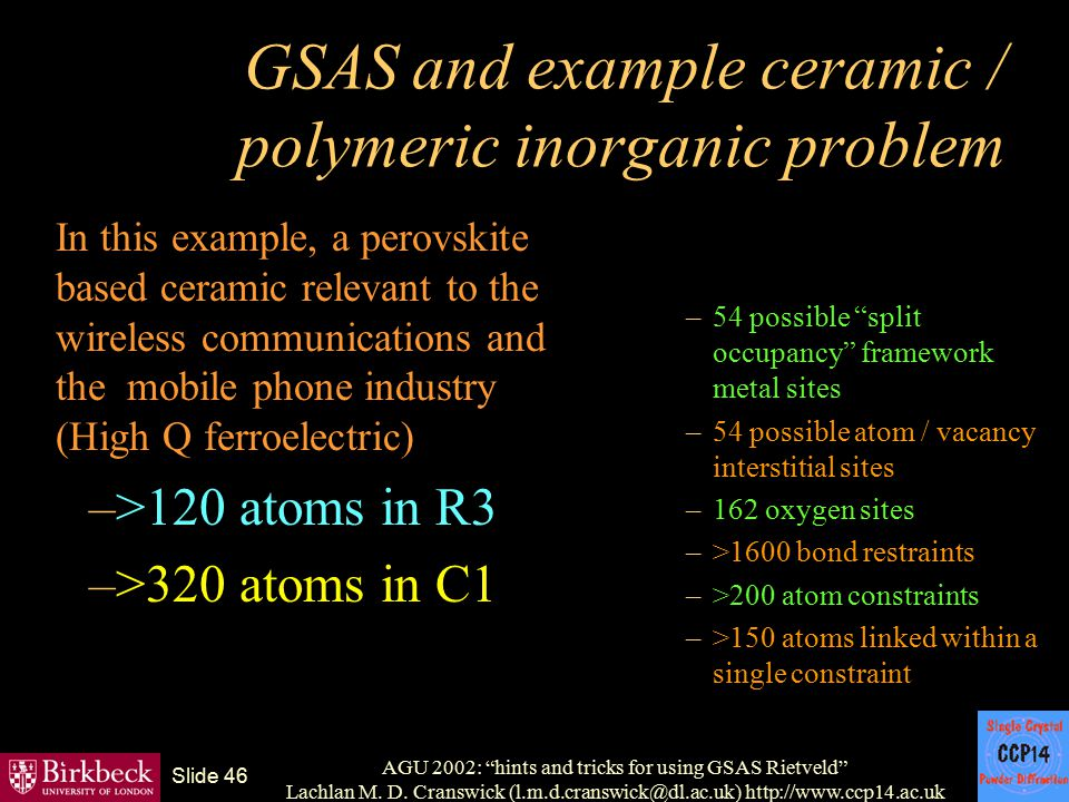 GSAS and example ceramic / polymeric inorganic problem