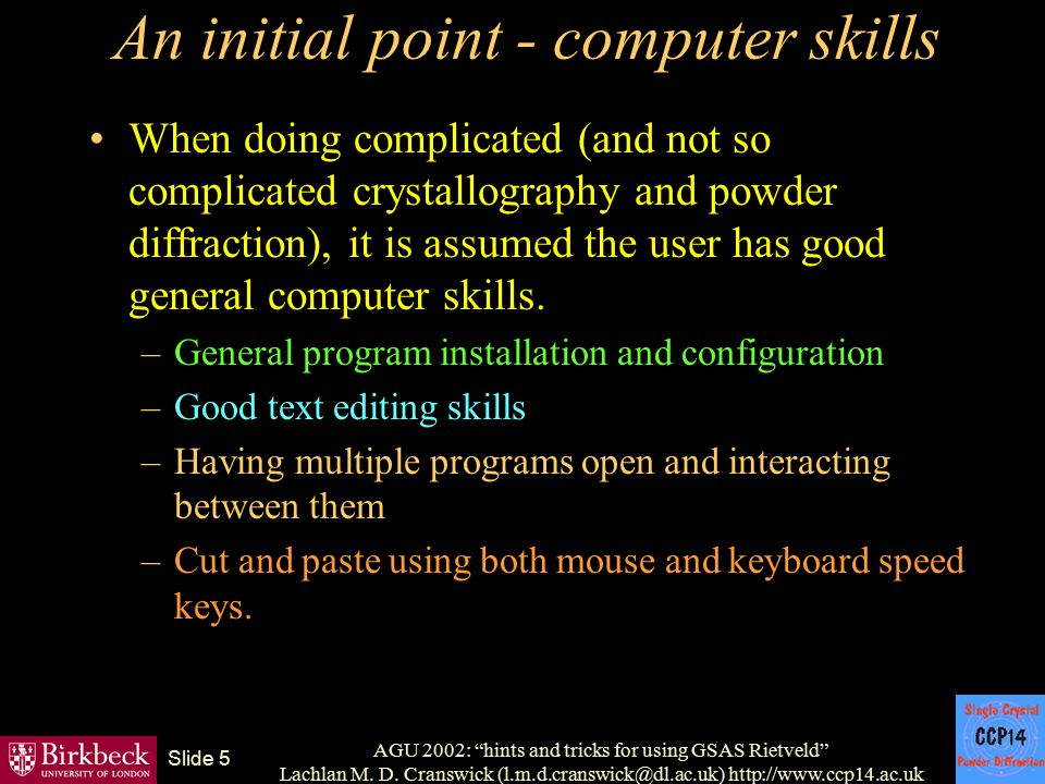 An initial point - computer skills
