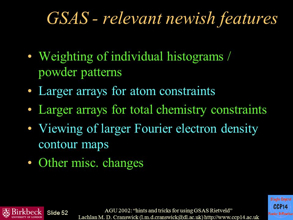 GSAS - relevant newish features