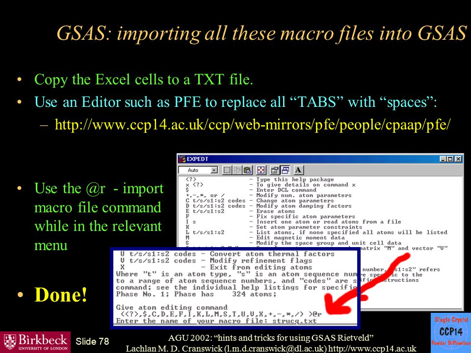 GSAS: importing all these macro files into GSAS