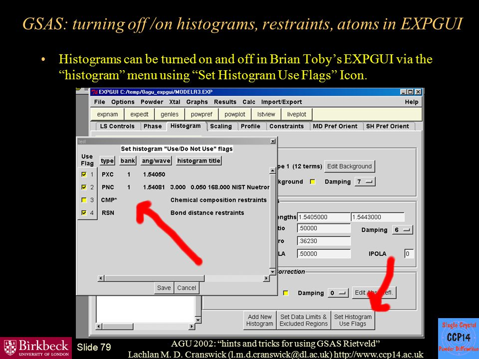 GSAS: turning off /on histograms, restraints, atoms in EXPGUI