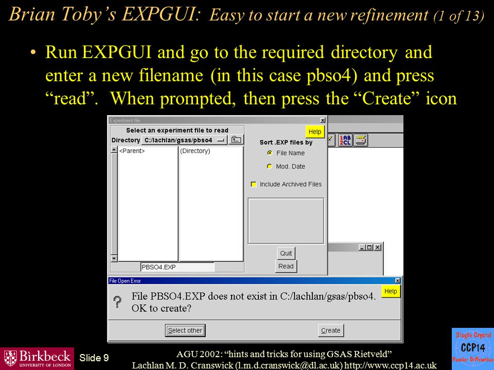 Brian Toby's EXPGUI: Easy to start a new refinement (1 of 13)