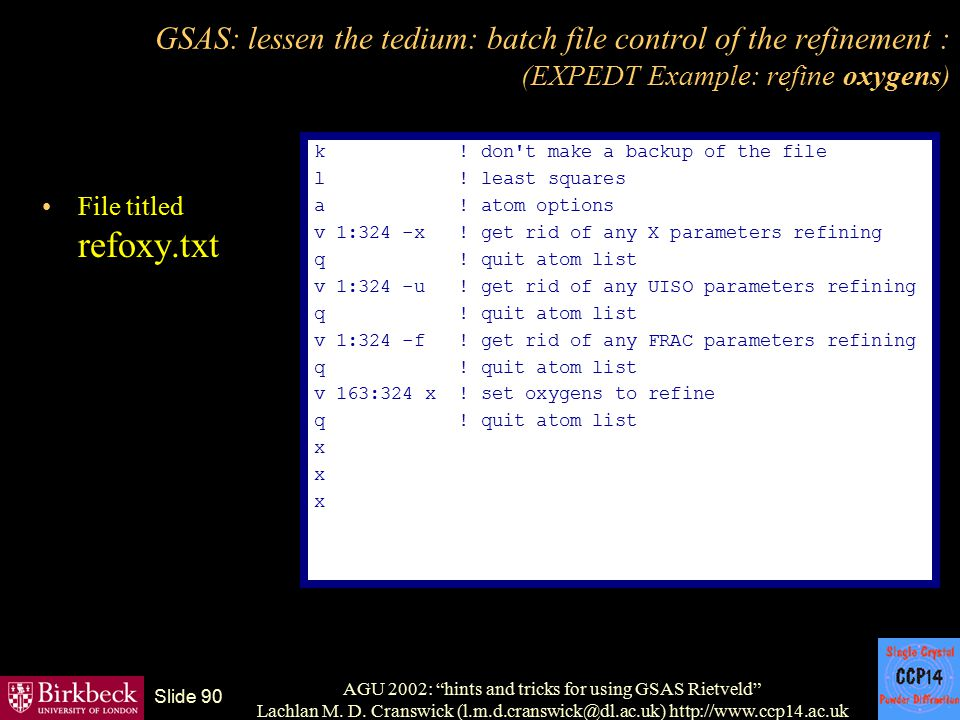AGU 2002: hints and tricks for using GSAS Rietveld