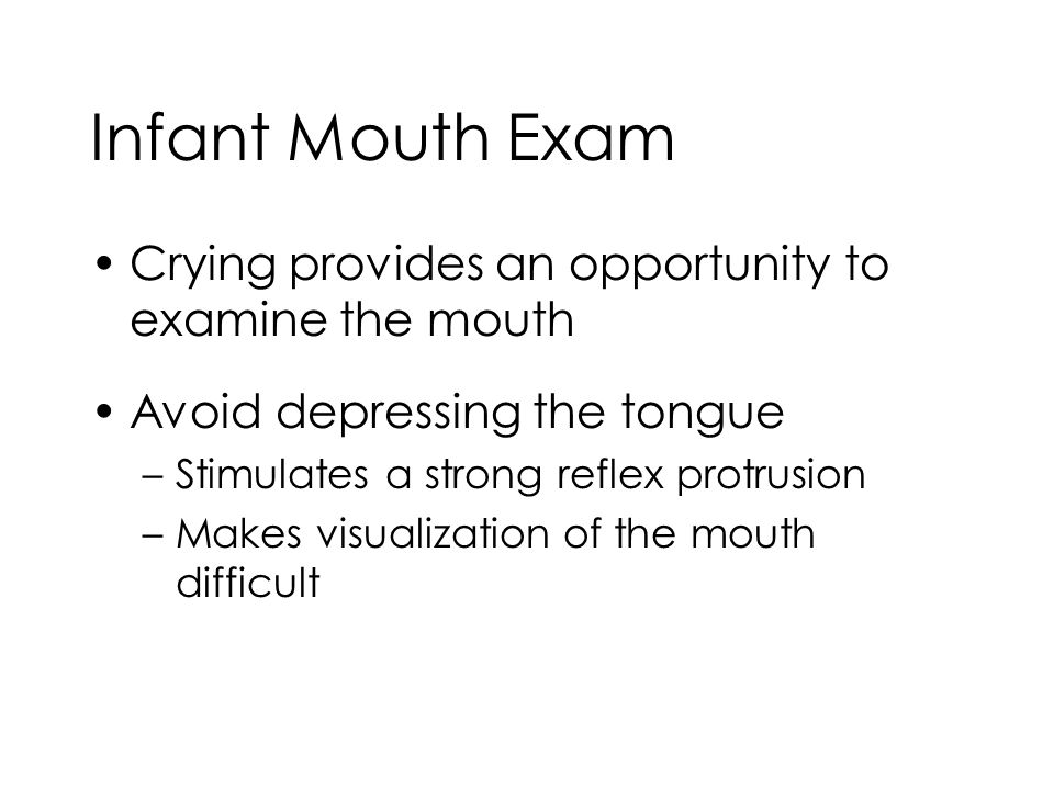 Infant Mouth Exam Crying provides an opportunity to examine the mouth