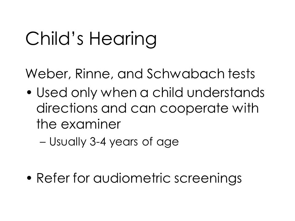 Child's Hearing Weber, Rinne, and Schwabach tests