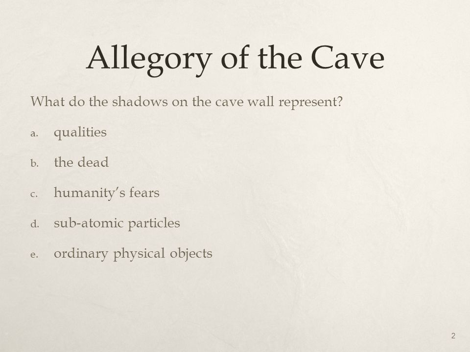 Allegory of the Cave What do the shadows on the cave wall represent