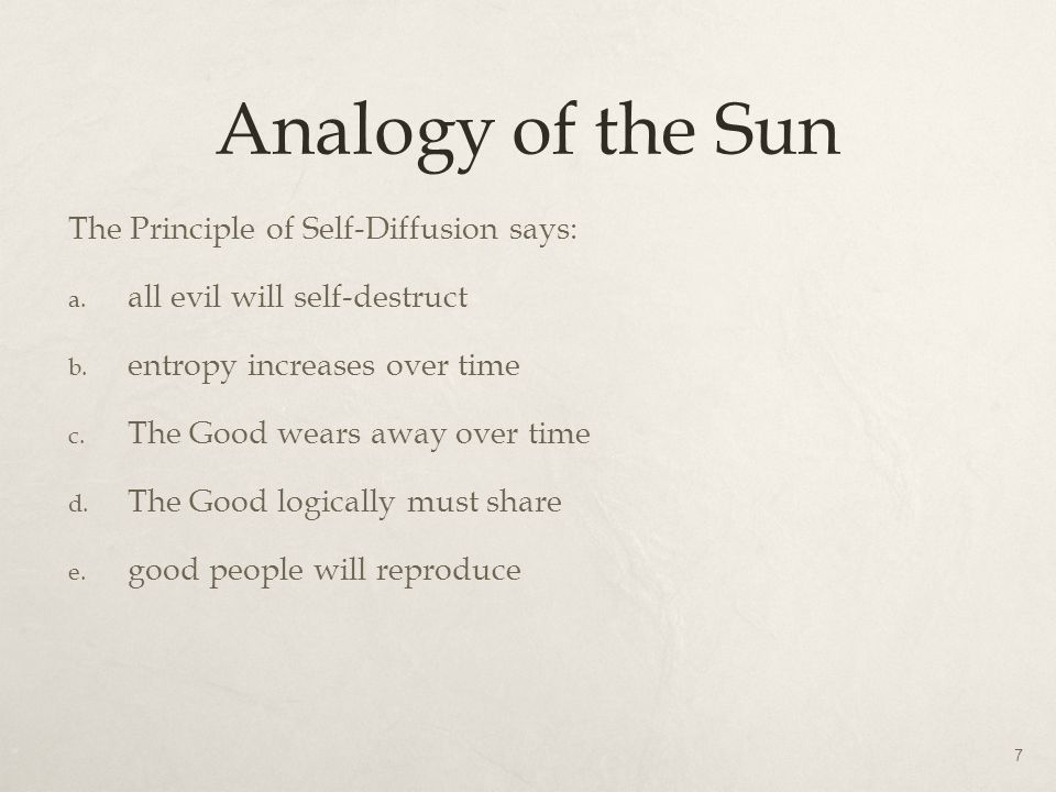Analogy of the Sun The Principle of Self-Diffusion says: