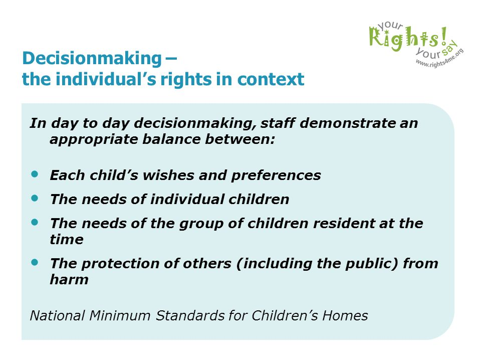 Decisionmaking – the individual's rights in context