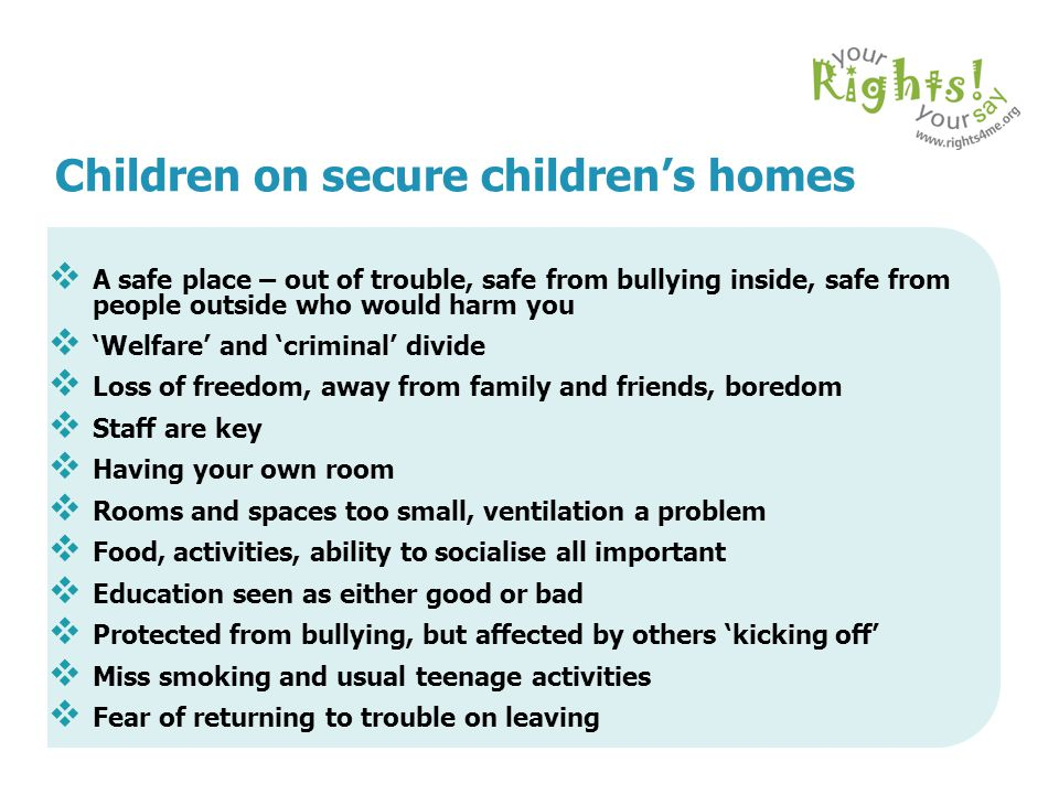 Children on secure children's homes