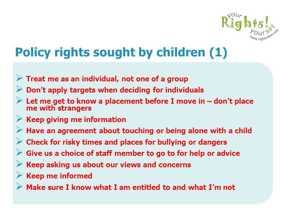 Policy rights sought by children (1)