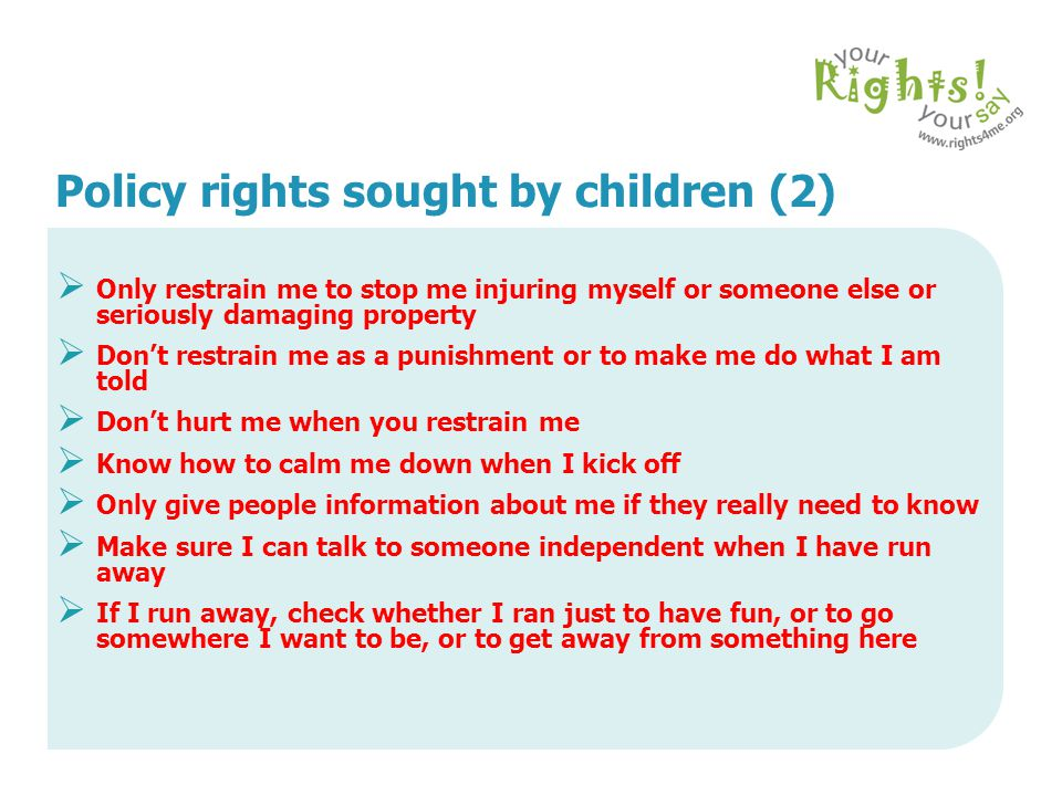 Policy rights sought by children (2)