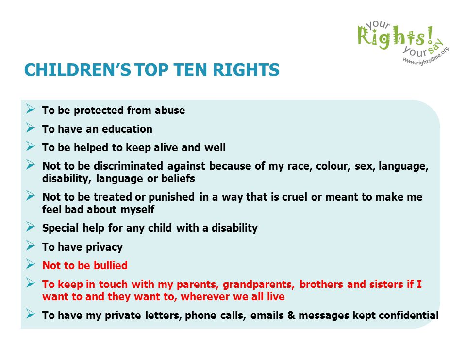 CHILDREN'S TOP TEN RIGHTS