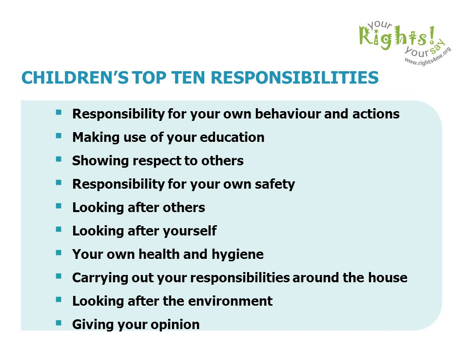 CHILDREN'S TOP TEN RESPONSIBILITIES