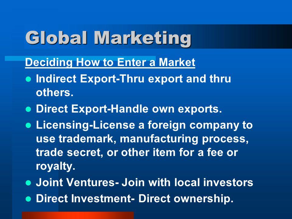Global Marketing Deciding How to Enter a Market