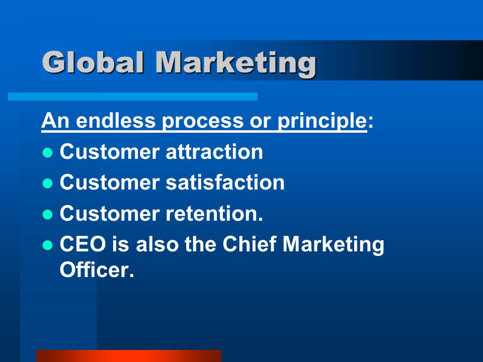 Global Marketing An endless process or principle: Customer attraction