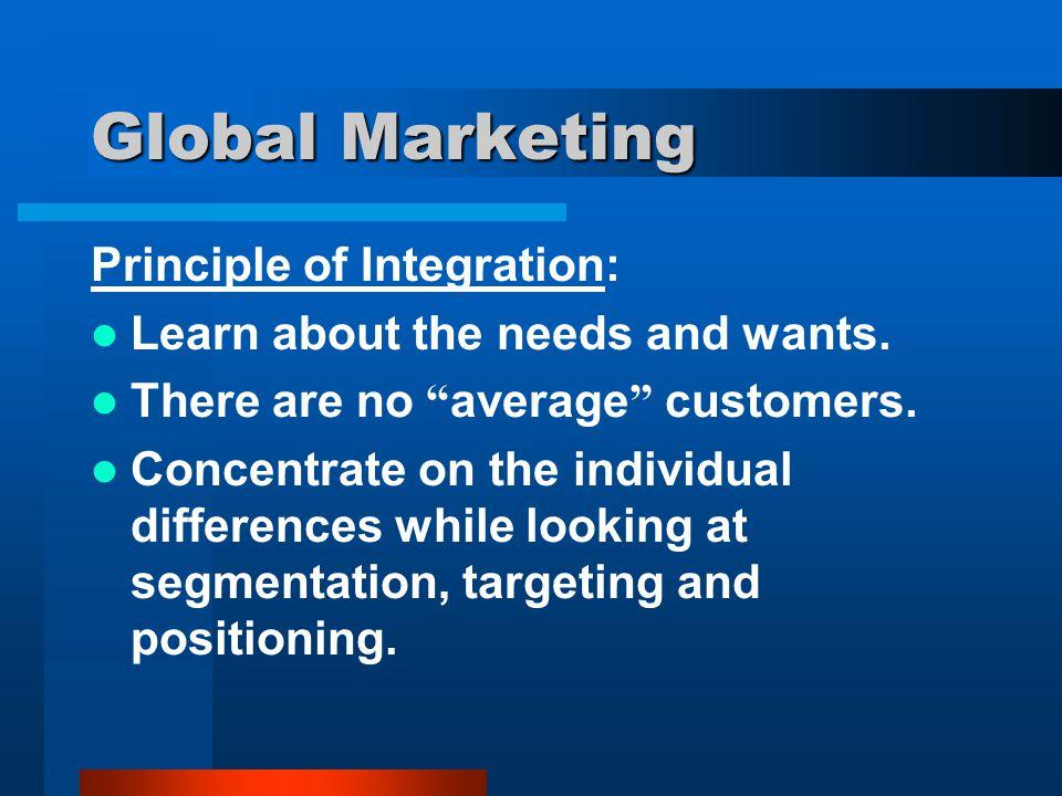 Global Marketing Principle of Integration: