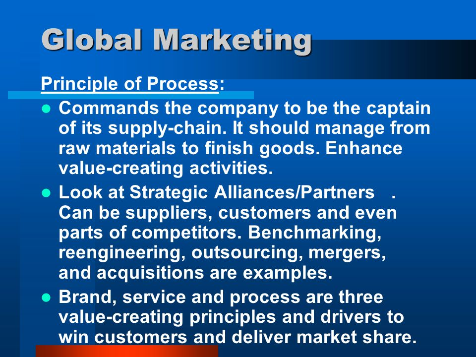 international marketing the implementation of marketing principles in the global market Marketing research is the process or set of processes that links the producers, customers, and end users to the marketer through information used to identify and define marketing opportunities and problems generate, refine, and evaluate marketing actions monitor marketing performance and improve understanding of marketing as a process.