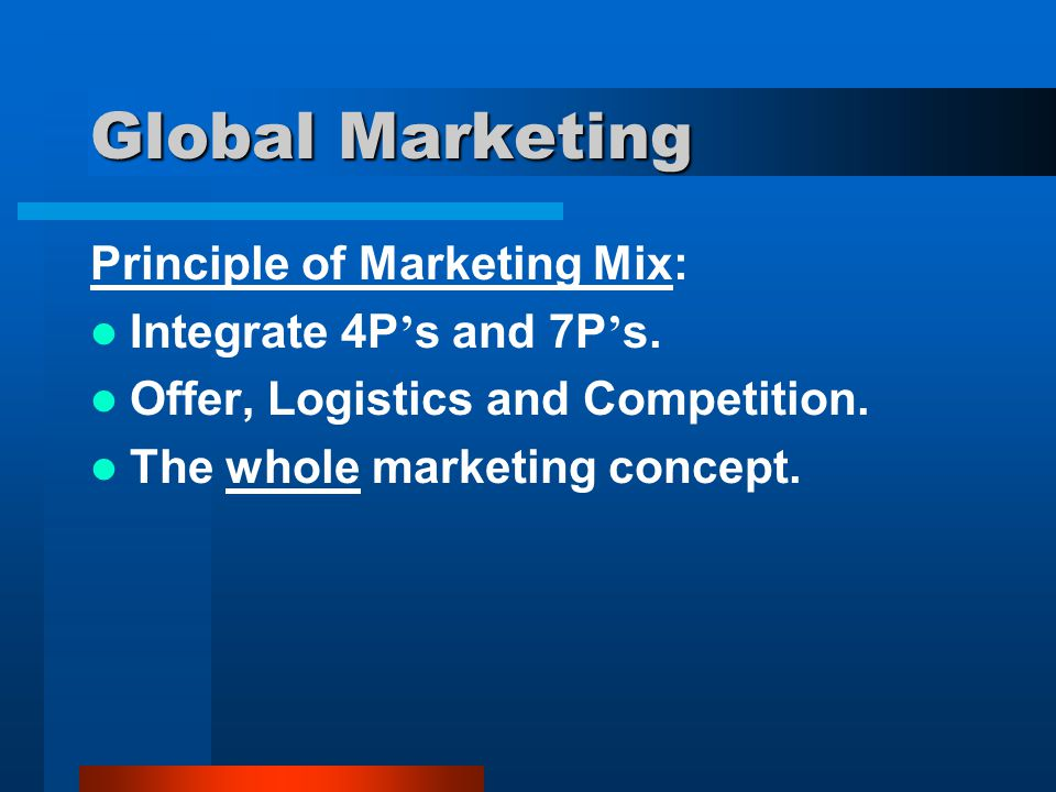 Global Marketing Principle of Marketing Mix: Integrate 4P's and 7P's.