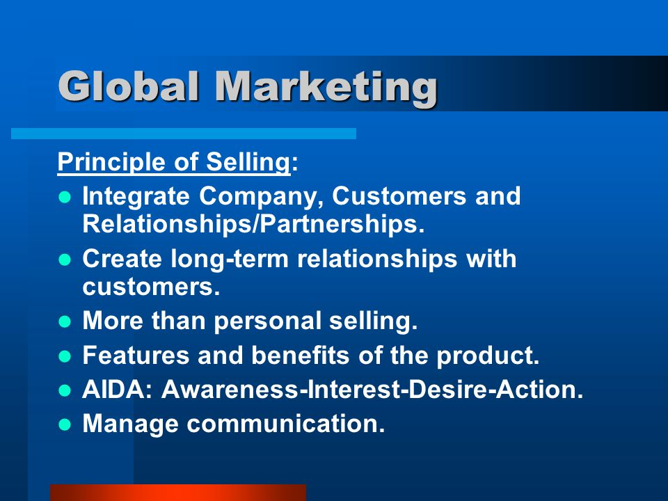 Global Marketing Principle of Selling: