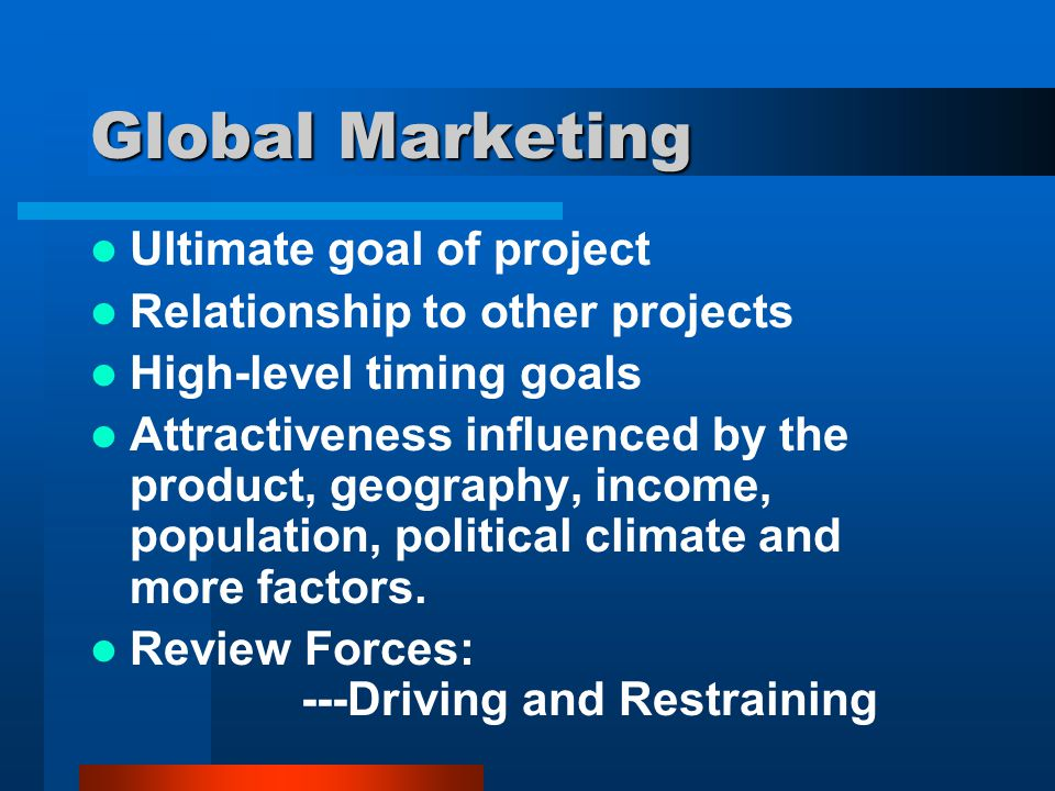 Global Marketing Ultimate goal of project