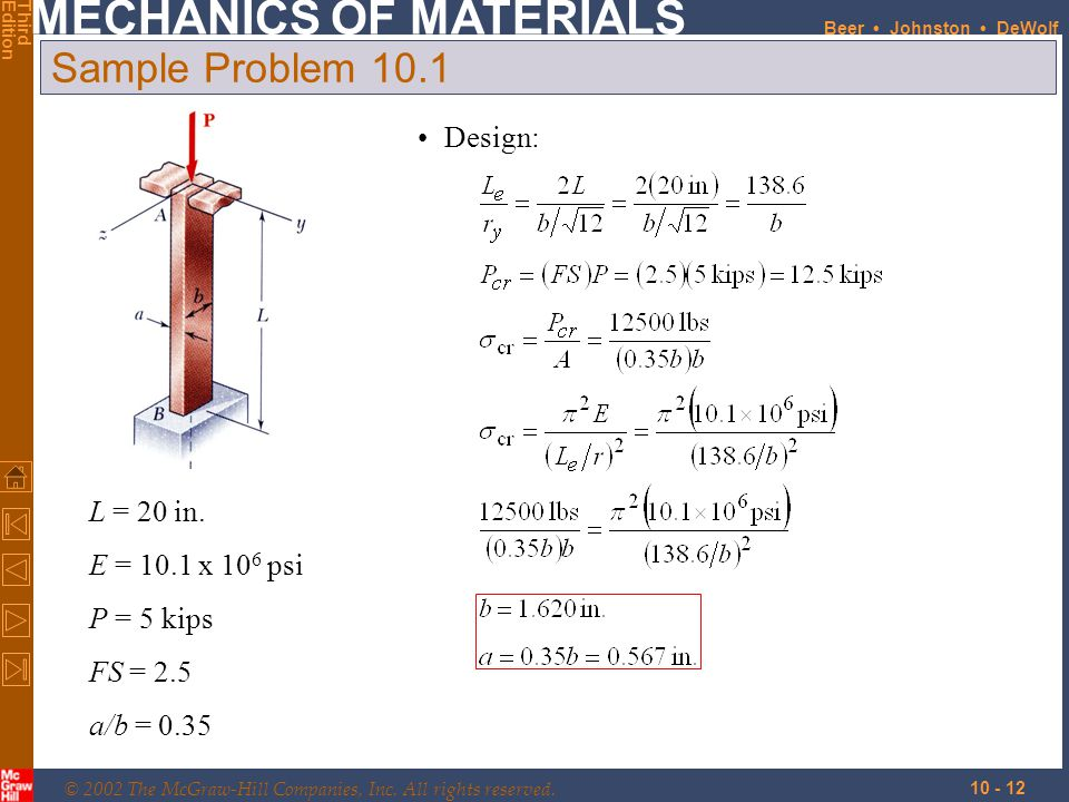 Sample Problem 10.1 Design: L = 20 in. E = 10.1 x 106 psi P = 5 kips