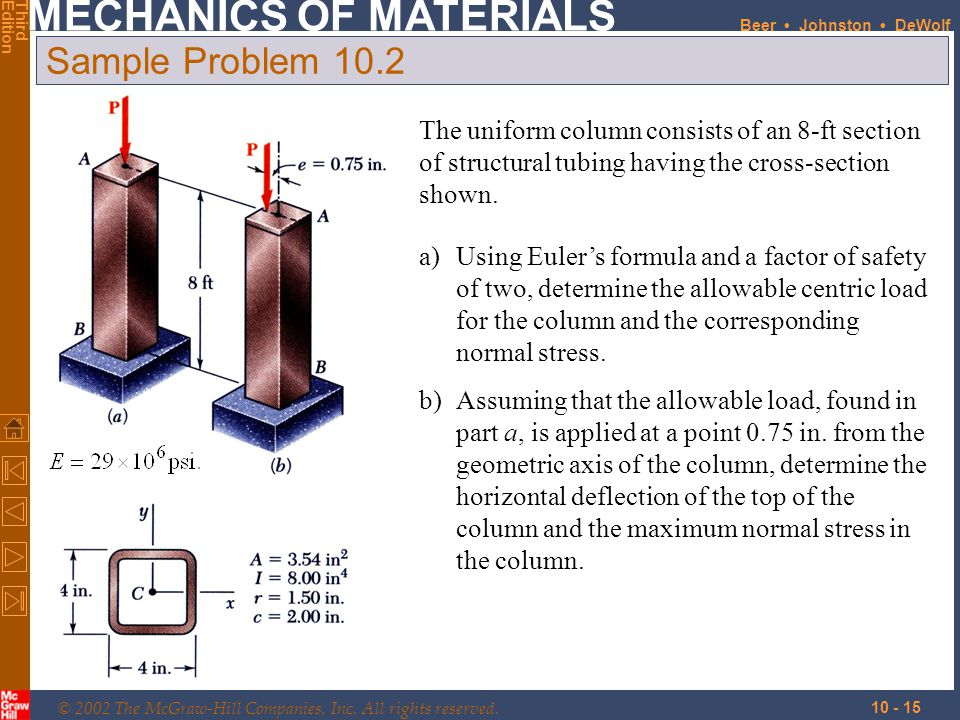 Sample Problem 10.2 The uniform column consists of an 8-ft section of structural tubing having the cross-section shown.
