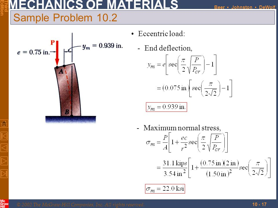 Sample Problem 10.2 Eccentric load: - End deflection,