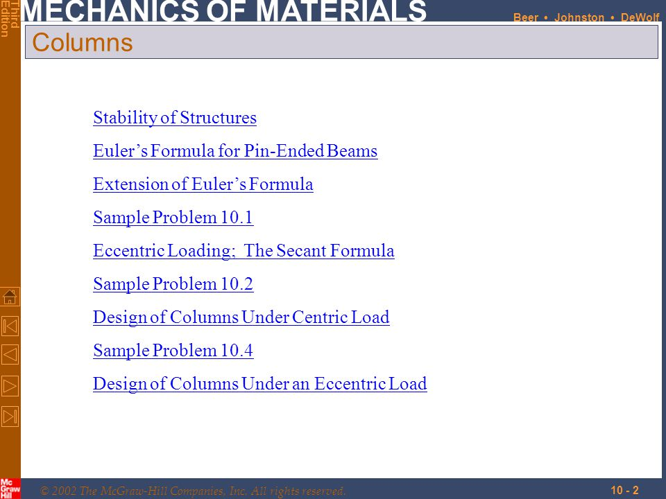 Columns Stability of Structures Euler's Formula for Pin-Ended Beams