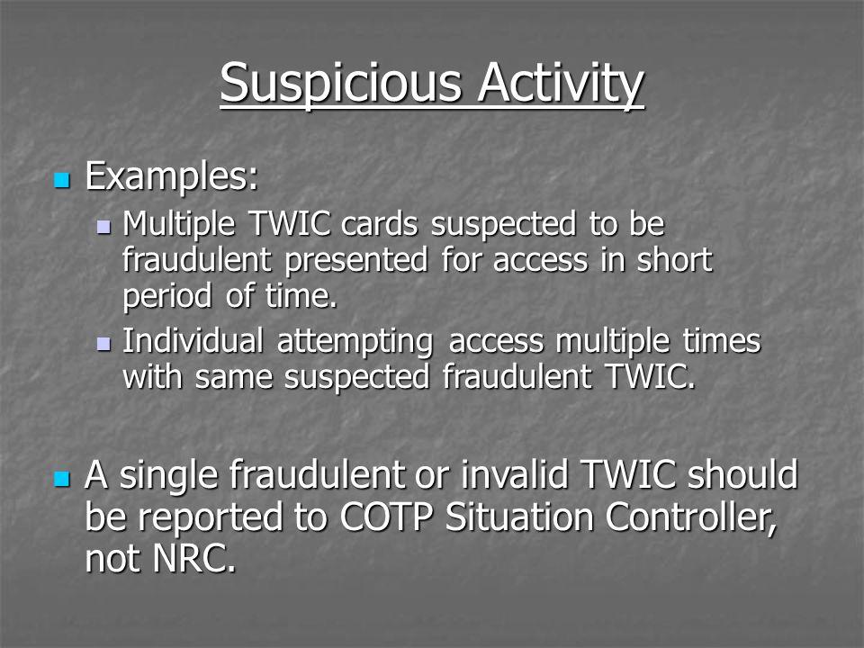 Suspicious Activity Examples: