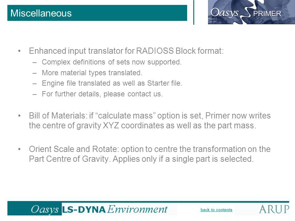 Miscellaneous Enhanced input translator for RADIOSS Block format: