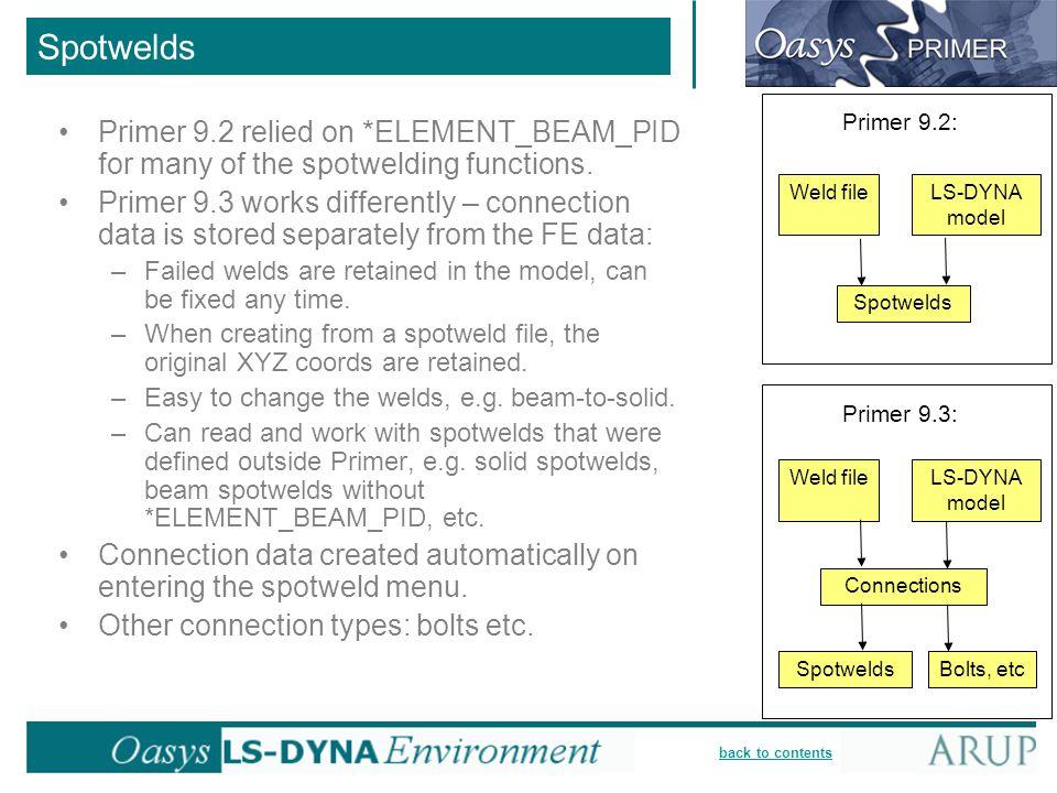 Spotwelds Weld file. Spotwelds. LS-DYNA model. Primer 9.2: Primer 9.3: Bolts, etc. Connections.