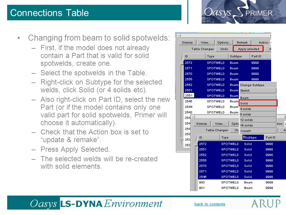 Connections Table Changing from beam to solid spotwelds: