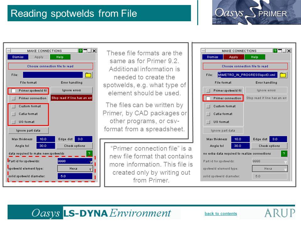 Reading spotwelds from File