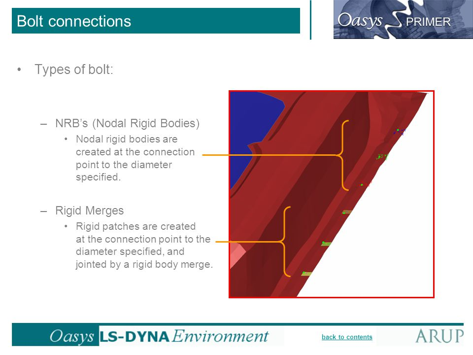 Bolt connections Types of bolt: NRB's (Nodal Rigid Bodies)