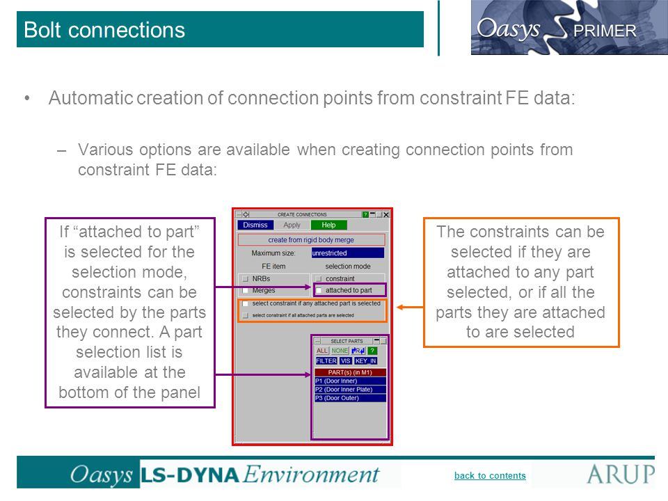 Bolt connections Automatic creation of connection points from constraint FE data: