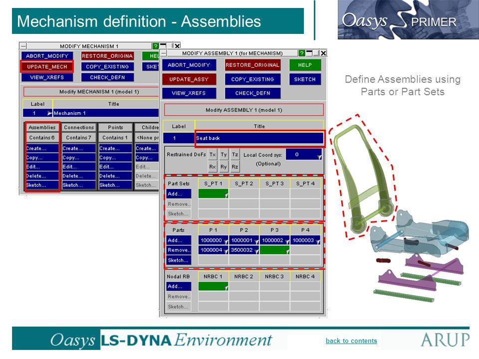 Mechanism definition - Assemblies