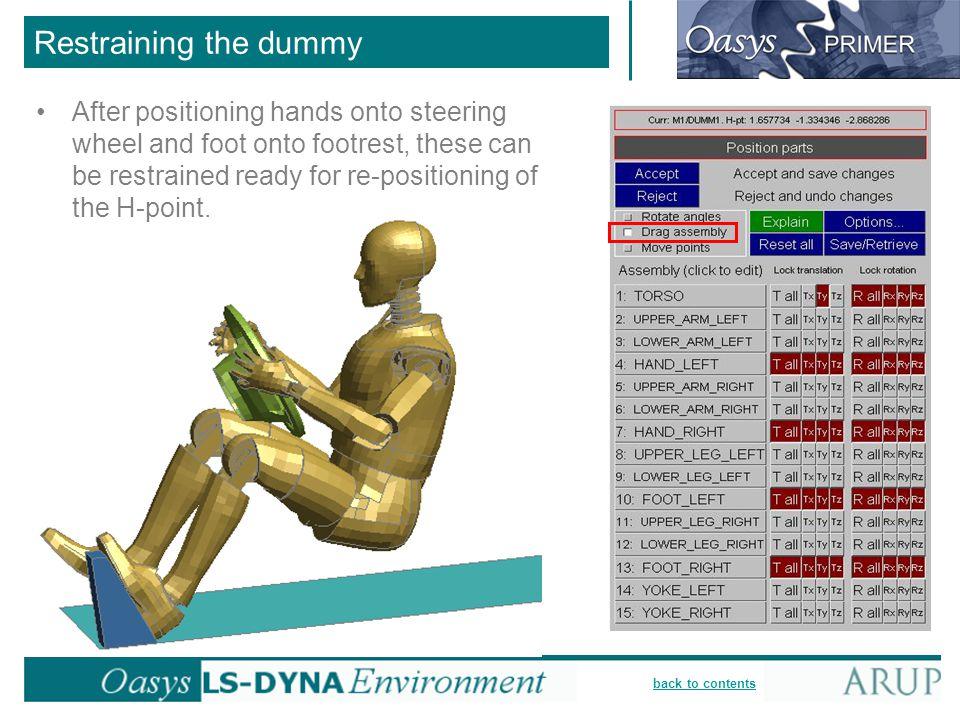 Restraining the dummy