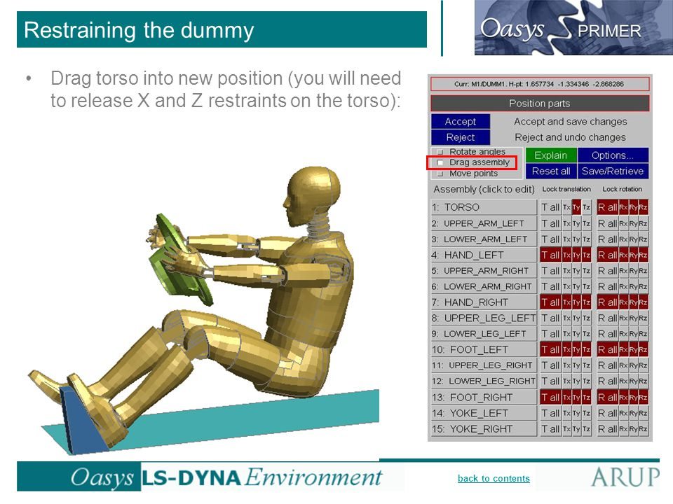 Restraining the dummy Drag torso into new position (you will need to release X and Z restraints on the torso):