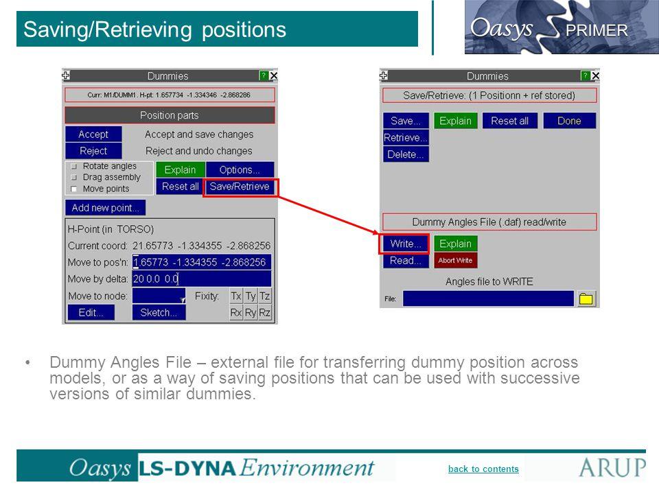 Saving/Retrieving positions