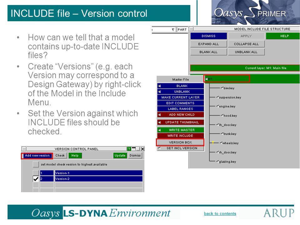 INCLUDE file – Version control