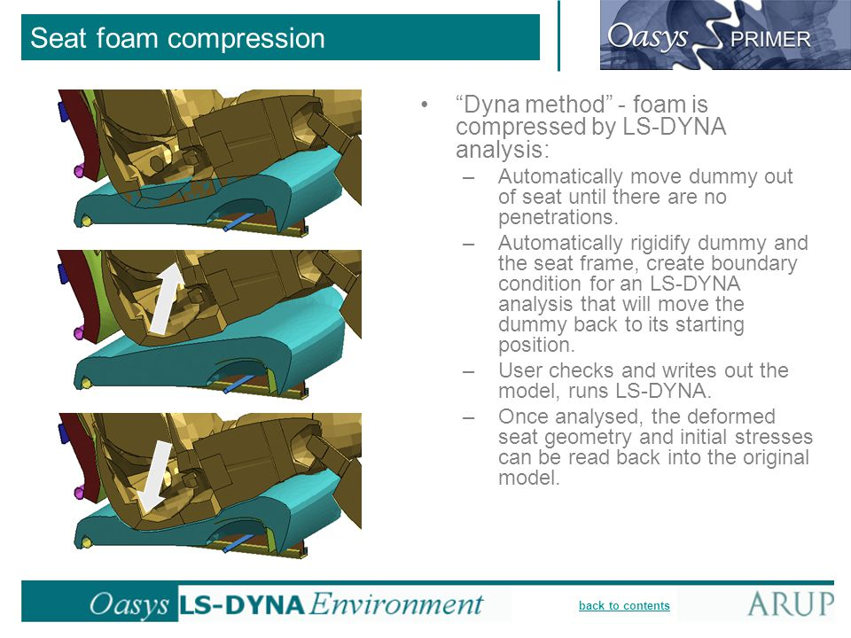 Seat foam compression Dyna method - foam is compressed by LS-DYNA analysis: Automatically move dummy out of seat until there are no penetrations.