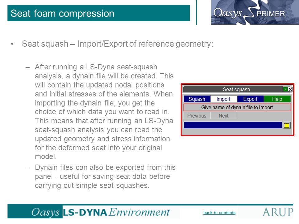 Seat foam compression Seat squash – Import/Export of reference geometry: