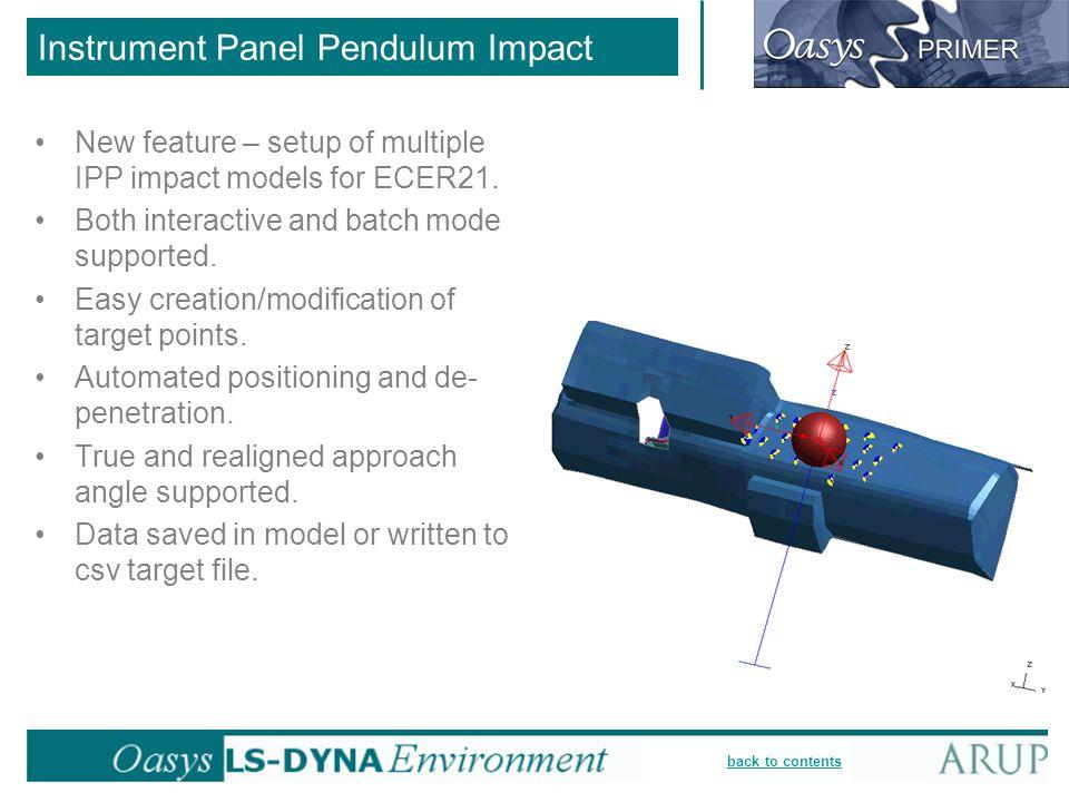 Instrument Panel Pendulum Impact