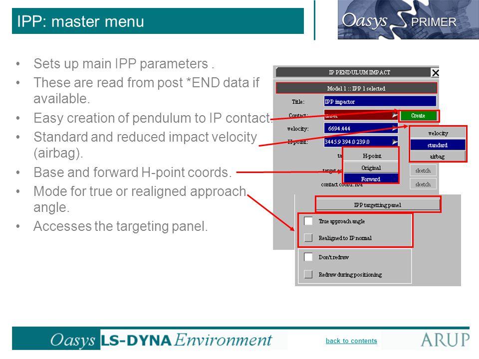 IPP: master menu Sets up main IPP parameters .