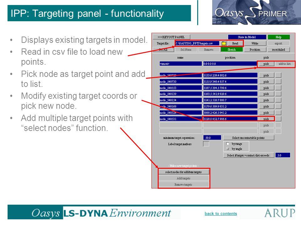 IPP: Targeting panel - functionality