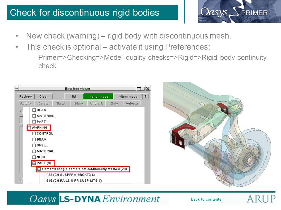 Check for discontinuous rigid bodies