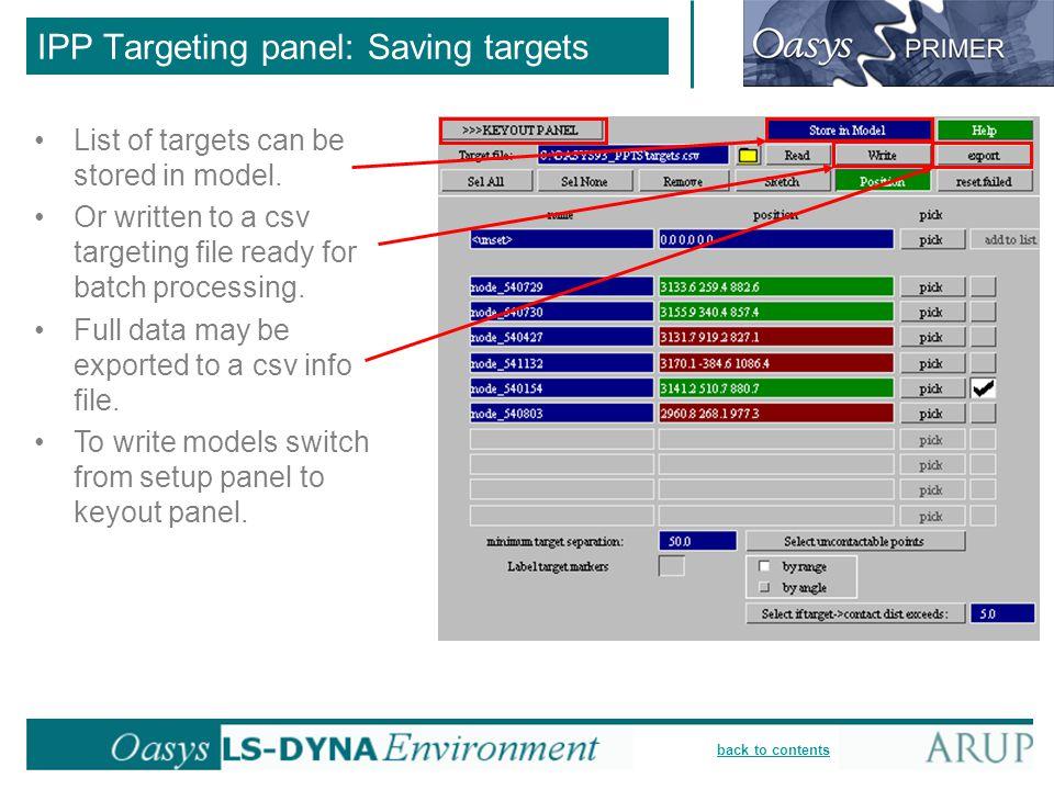 IPP Targeting panel: Saving targets